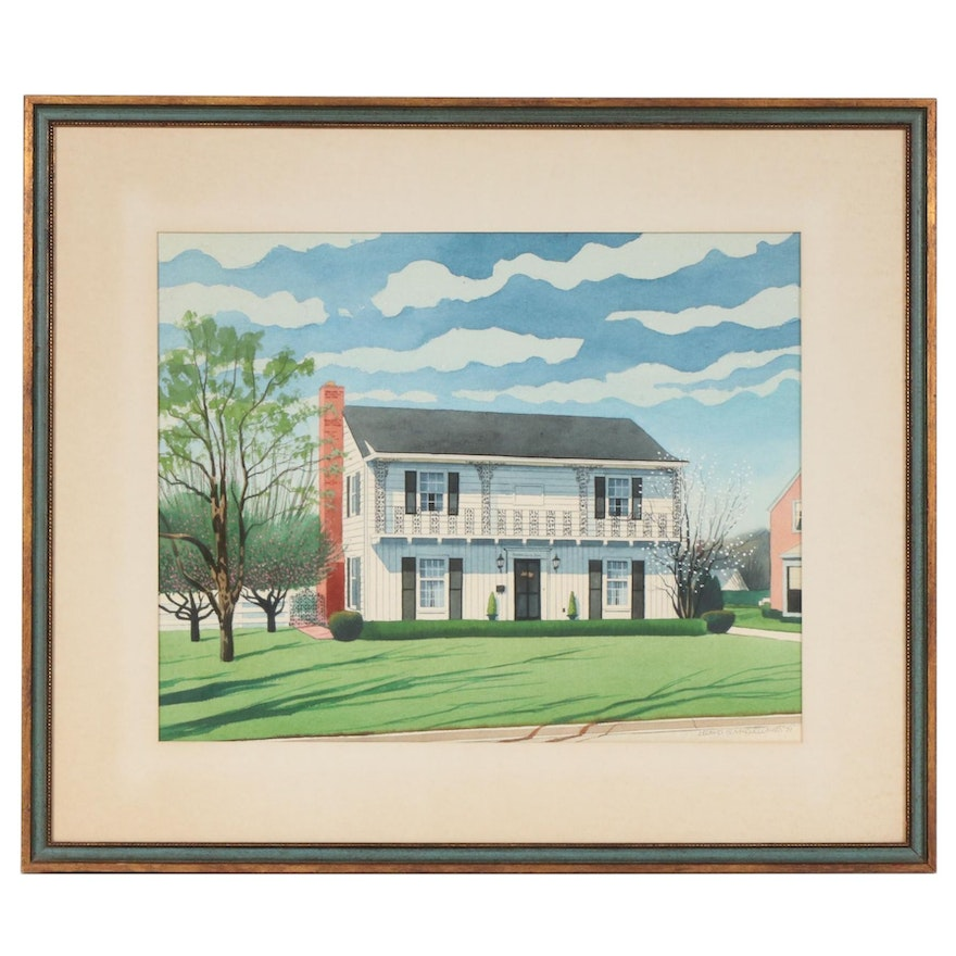 Leland McClelland Watercolor Painting of a House, 1971