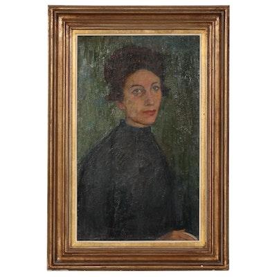 Continental School Portrait Oil Painting