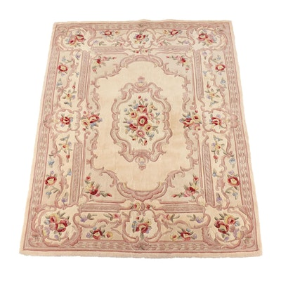 6'10 x 9'0 Hand-Tufted Chinese Royal Palace Carved Floral Wool Rug