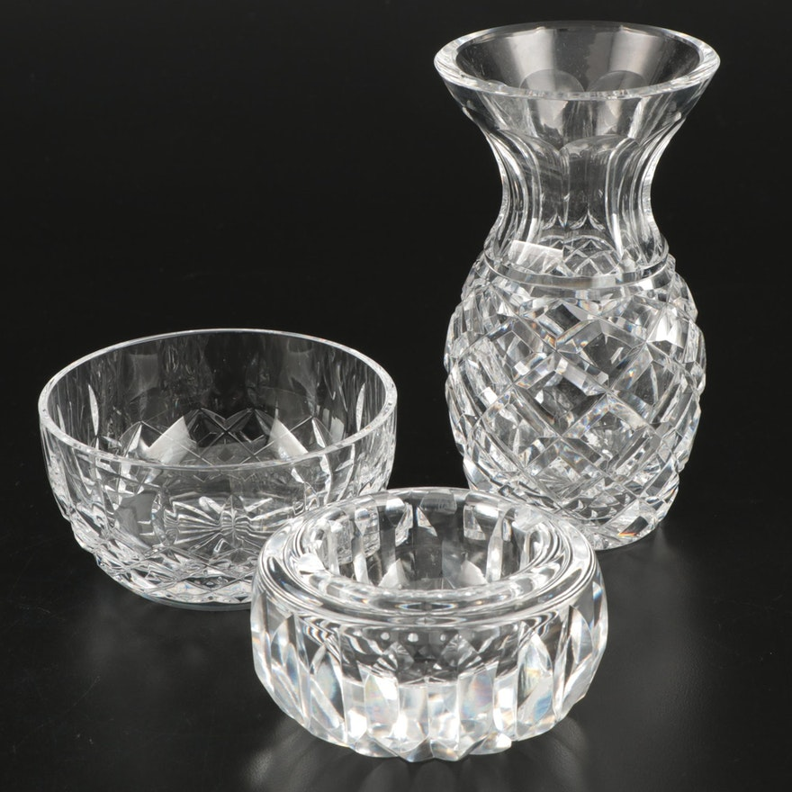 "Waterford Crystal ""Lismore"" Bowl with Vase and Ashtray"