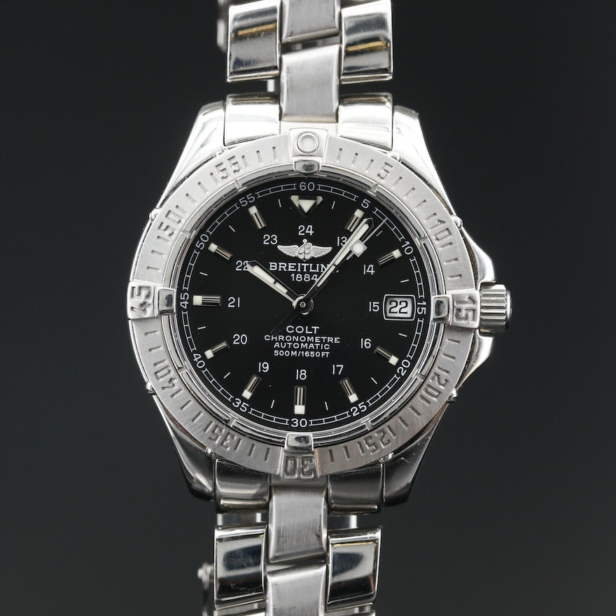 """Breitling """"Colt"""" Automatic Chronometre Stainless Steel Wristwatch with Date"""