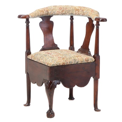 George III Mahogany Corner Commode Chair, Late 18th Century