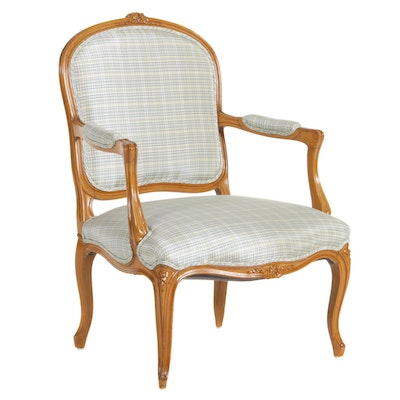 Louis XV Style Plaid Chintz Upholstered Dining Chair, Late 20th Century