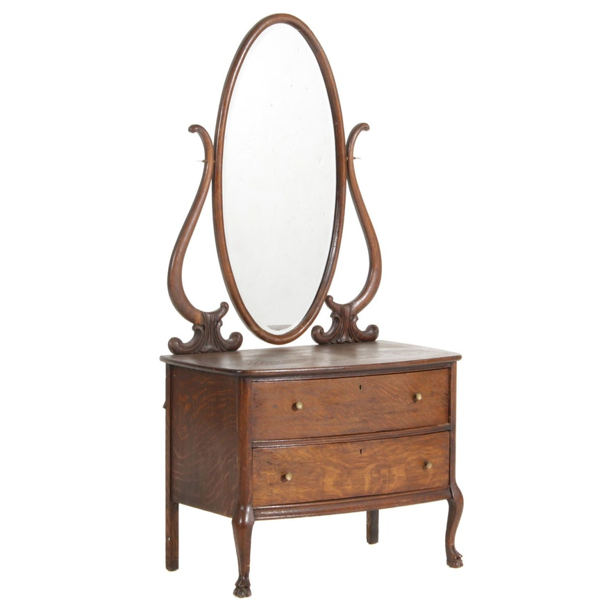 Victorian Quarter-Sawn Oak Dresser with Mirror, Late 19th to Early 20th Century