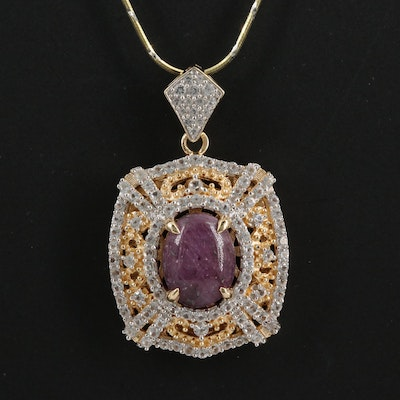 Sterling Ruby and White Sapphire Pendant Necklace