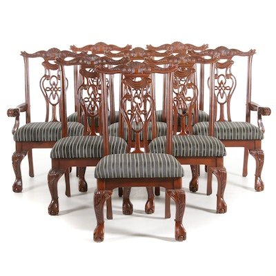 Chippendale Style Cherry Finish Upholstered Dining Chairs, 20th Century