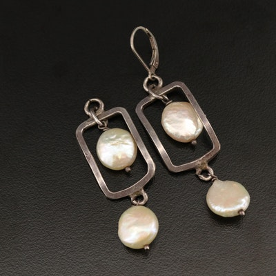 Sterling Silver Pearl Rectangular Dangle Earrings