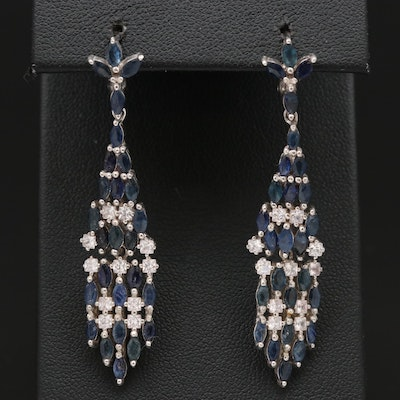 Sterling Sapphire and Cubic Zirconia Dangle Earrings