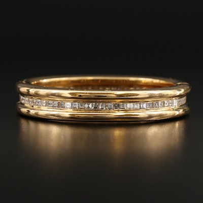 OJ Perrin 18K 7.20 CTW Diamond Channel Hinged Bangle