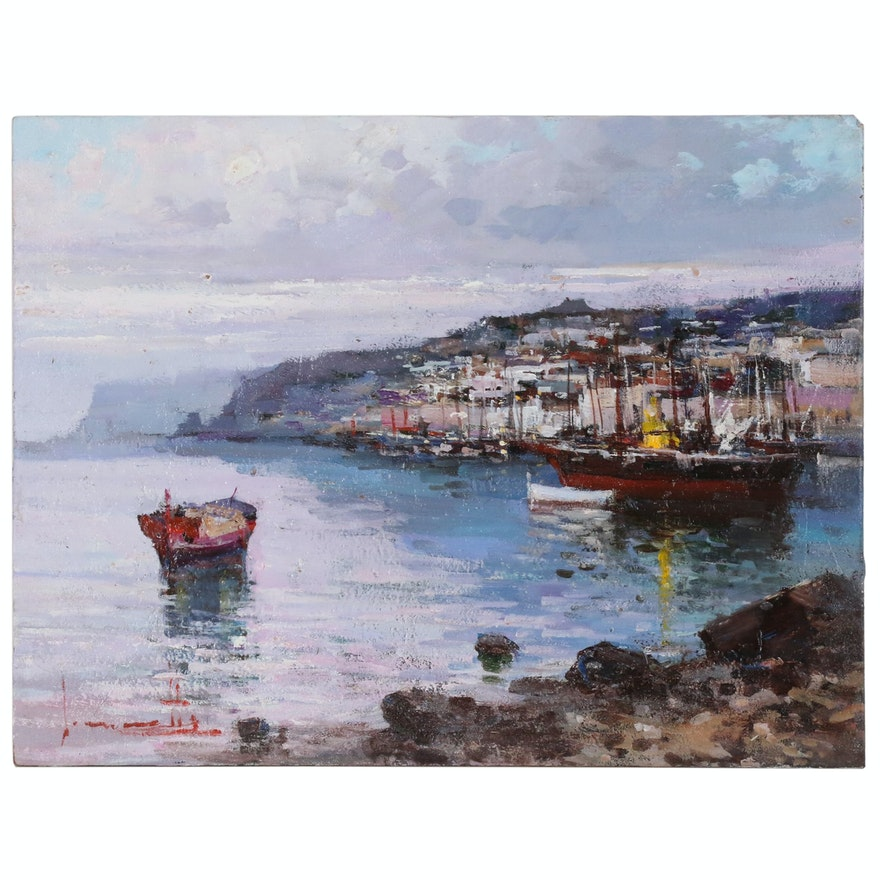 Claudio Simonetti Oil Painting of European Harbor Scene