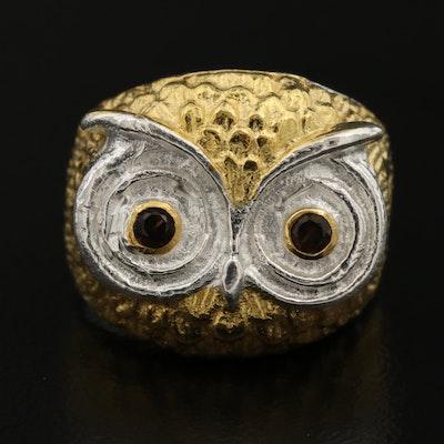 Sterling Silver Smoky Quartz Owl Ring