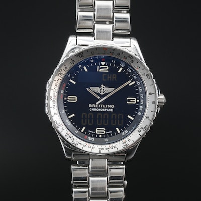 Breitling Chronospace Stainless Steel Multi Function Quartz Wristwatch