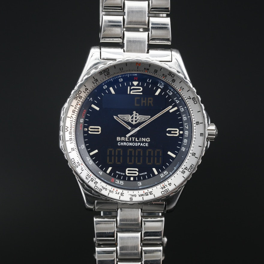 Breitling Chronospace Stainless Steel Multi Function Quartz Wristwatch