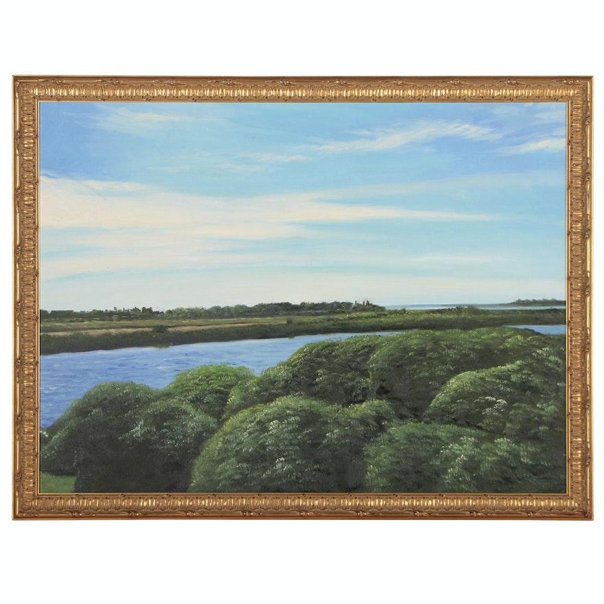 Landscape Oil Painting of River Scene, 21st Century
