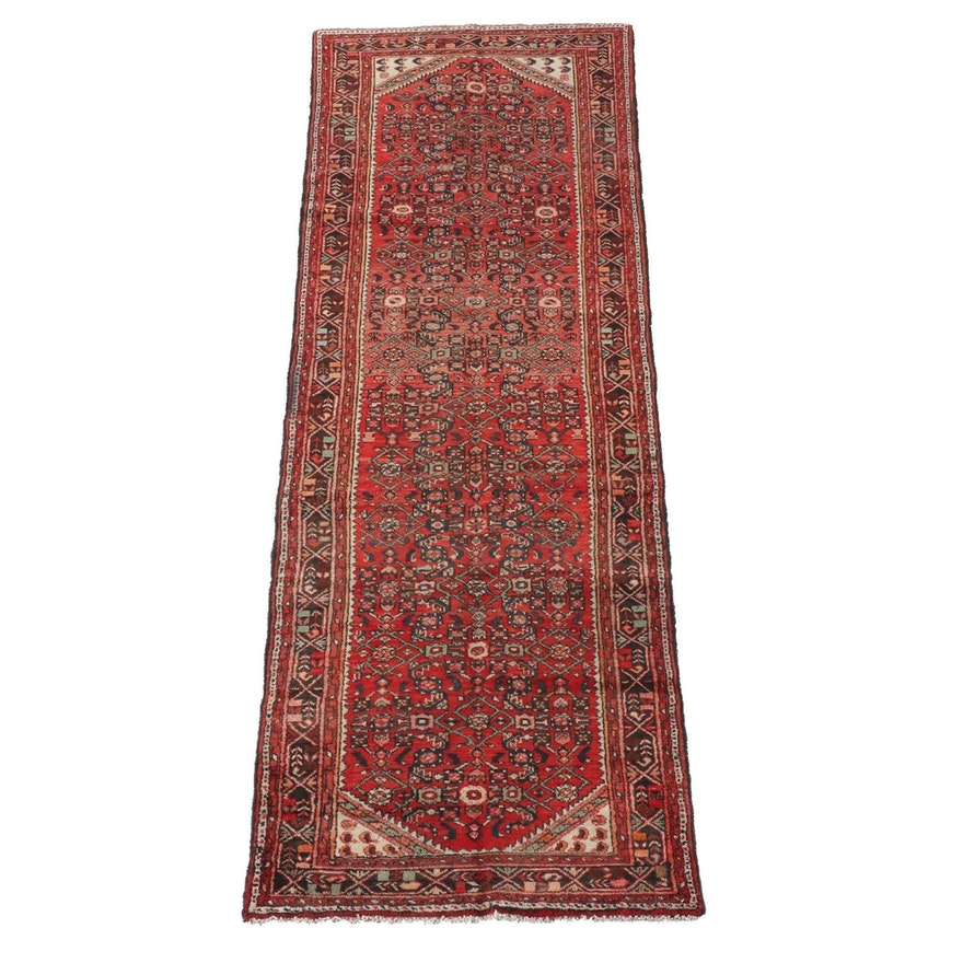 3'5 x 10'1 Hand-Knotted Persian Hamadan Wool Long Rug