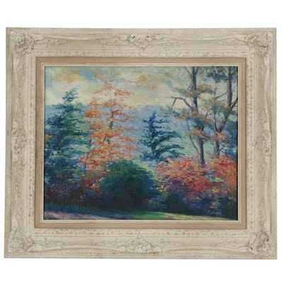Impressionist Style Landscape Oil Painting of Forest Scene