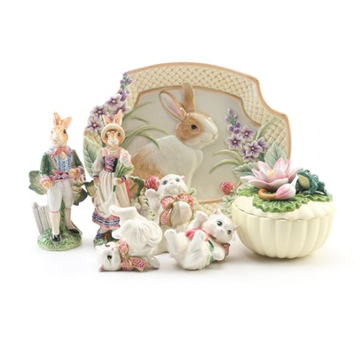 "Fitz and Floyd ""Old World Rabbits"" Salt and Pepper Set and Other Table Decor"