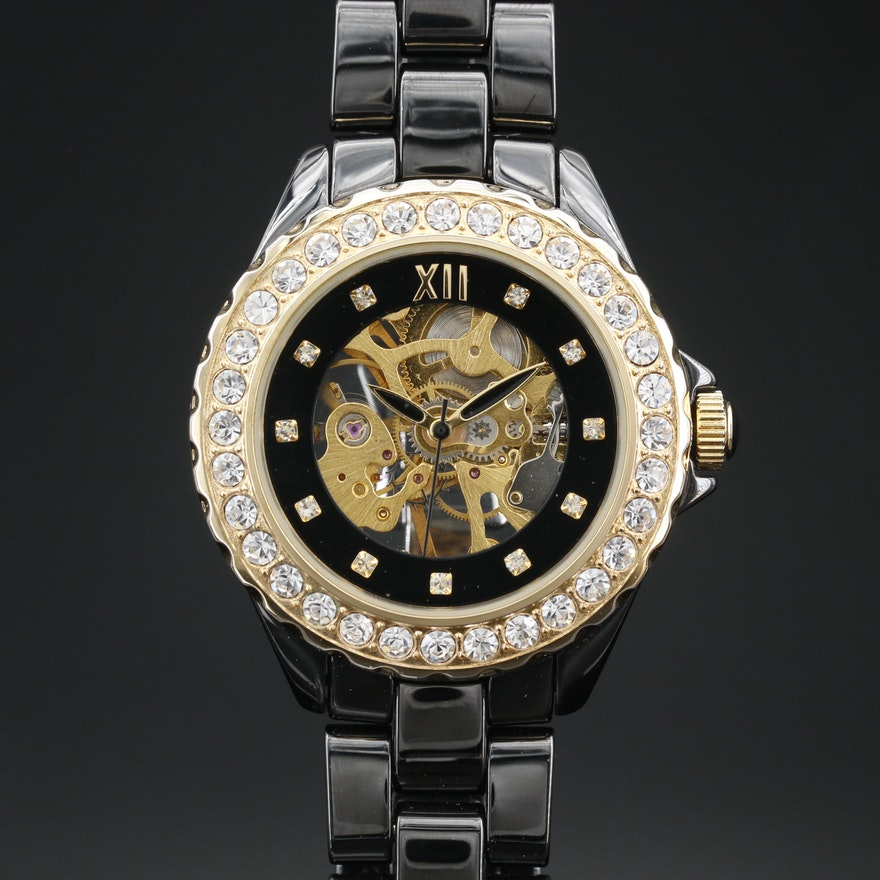 Adrienne Vittadini Skeleton Dial Black Ceramic Gold Tone and Crystal Wristwatch
