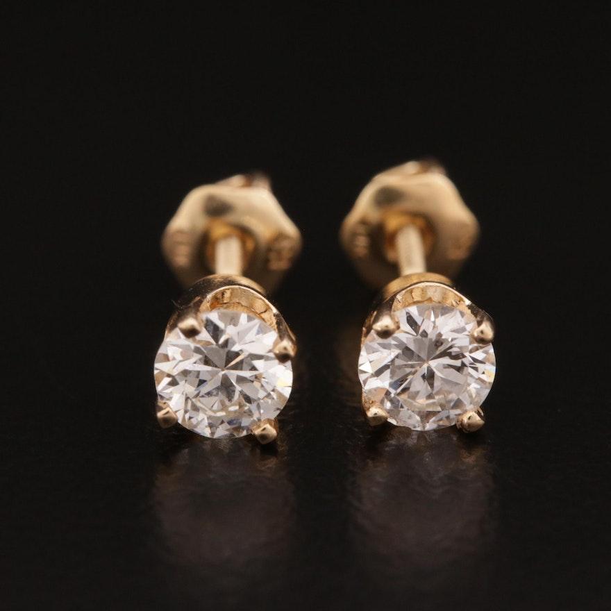 14K Gold 0.60 CTW Diamond Stud Earrings