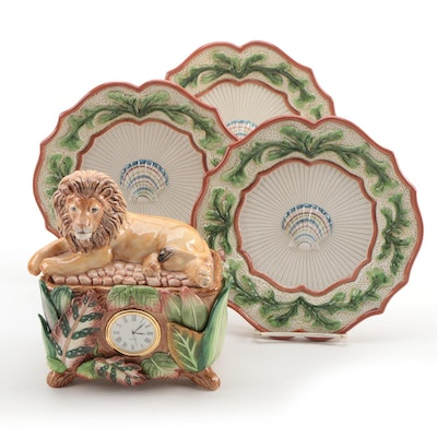 Fitz and Floyd Exotic Jungle Clock, Fish Collection Canapé Plates