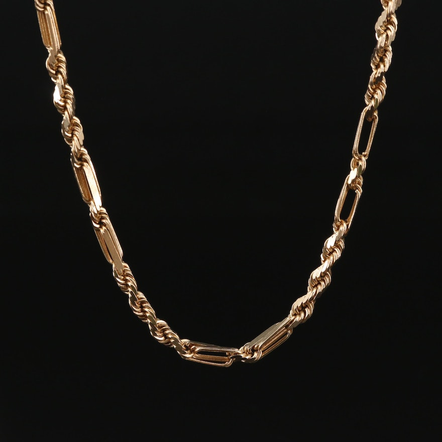 10K Rope Figaro Chain Necklace