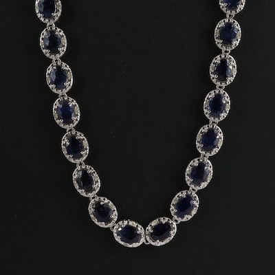 Sterling Silver Sapphire and Diamond Riviére Necklace