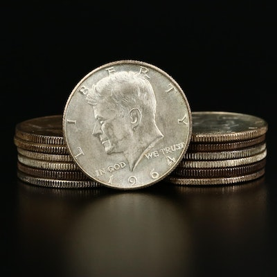 Thirteen 1964 Kennedy Silver Half Dollars
