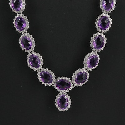 Sterling Silver Amethyst and White Topaz Necklace