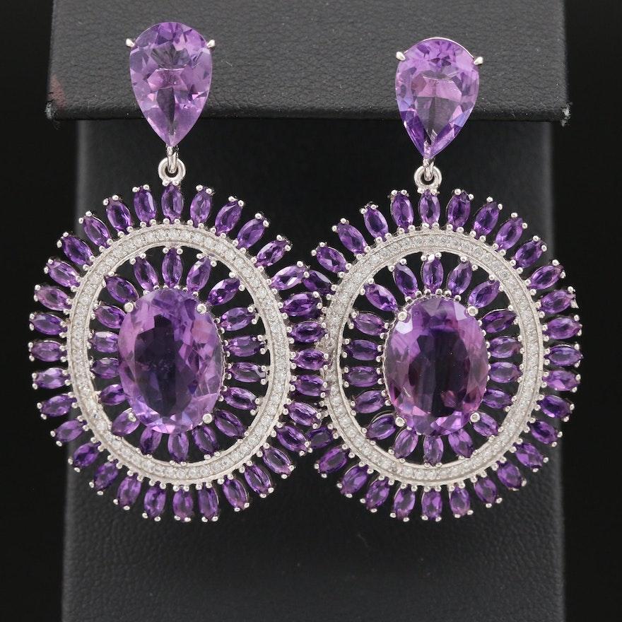 Sterling Amethyst and Cubic Zirconia Drop Earrings