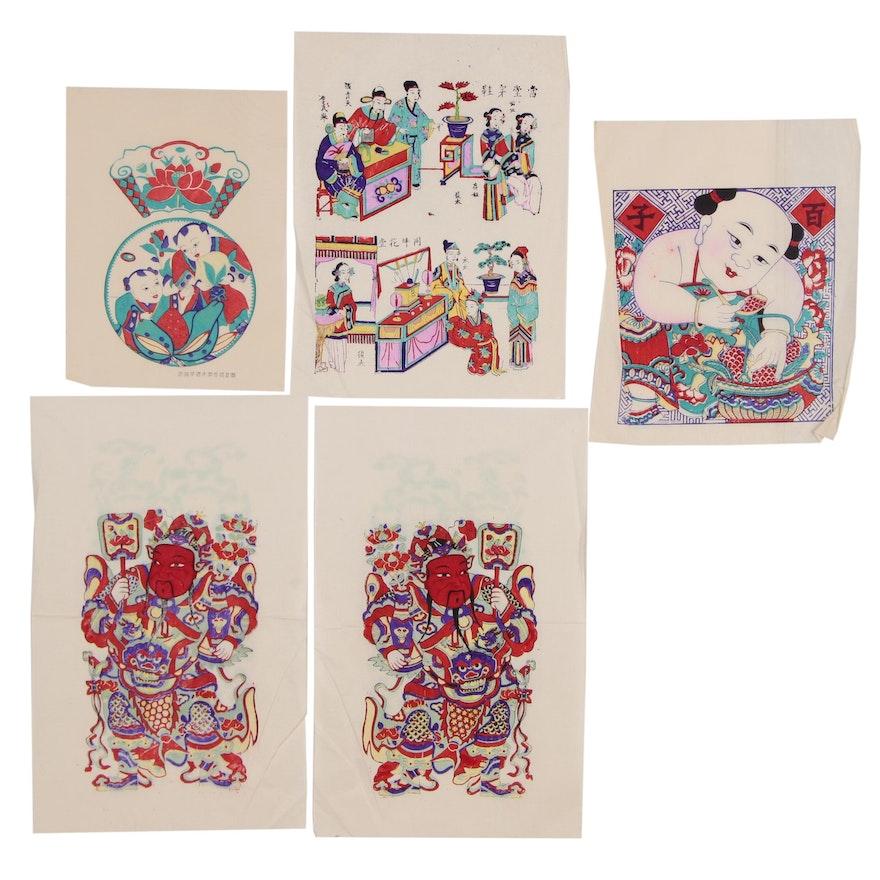 Chinese Nianhua Yangliuqing Style New Year Woodblock Prints, circa 1960