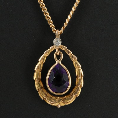 Vintage 14K Amethyst and Diamond Necklace
