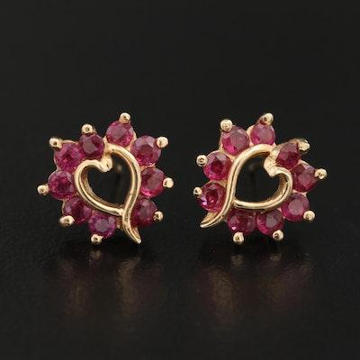 14K Ruby Heart Earrings