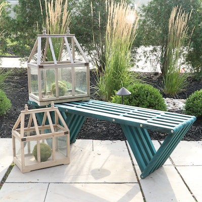 Contemporary Teal-Painted Slatted Wood Bench and Terrariums