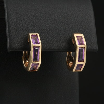 14K Amethyst Huggie Earrings