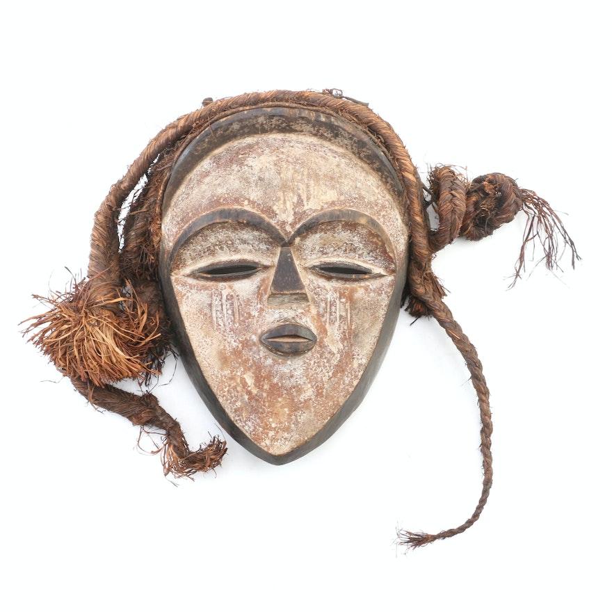 Gabon Vuvi Style Wood Carved Mask, 20th Century