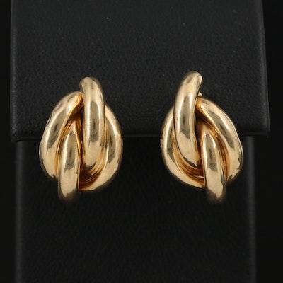 14K Double Crossover J-Hoop Earrings
