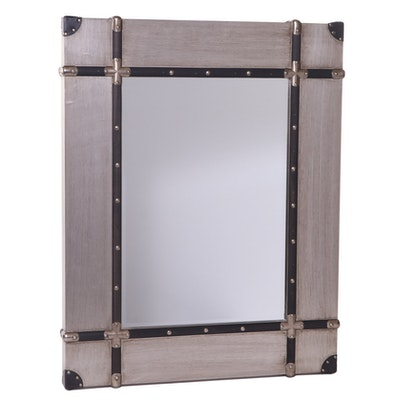 Metallic Finish Wall Mirror with Applied Wood Straps and Nail Head Trim