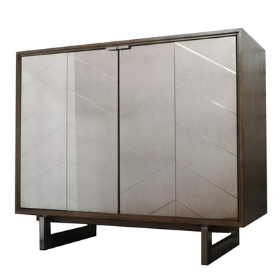 Driftwood Finish Wine Cabinet with Mirrored Doors, Contemporary