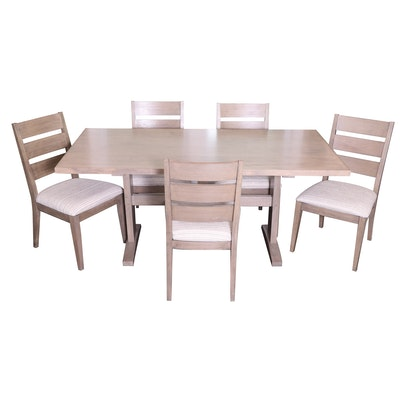 Trestle Wood Dining Table and Chairs in Driftwood Finish