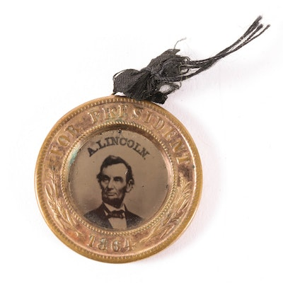 Abraham Lincoln and Andrew Johnson Double-Sided Ferrotype Campaign Medal