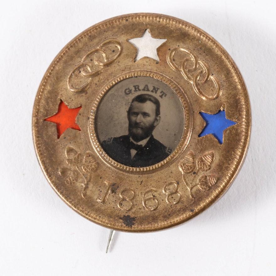 Ulysses S. Grant Diecut Red-White-Blue Star Insert Ferrotype Badge