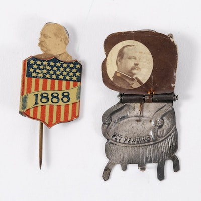 "Grover Cleveland ""Presidential Chair"" and Pop-Up Shield Mechanical Stickpins"
