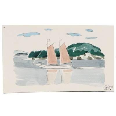 Robert Herrmann Watercolor Painting with Sailboat, 1995