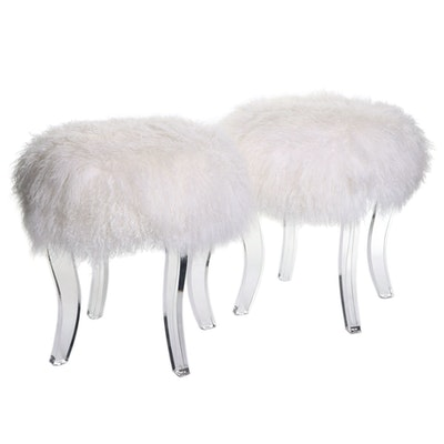Diamond Home Modern Faux Fur and Acrylic Stools