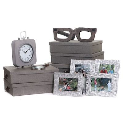 Grey Bigso Storage Boxes and Other Desk Supplies, Contemporary