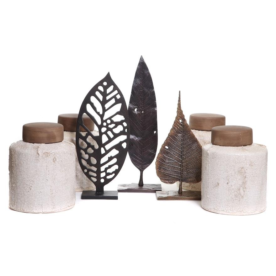 Metal Leaf Sculptures and Textured Ceramic Jars