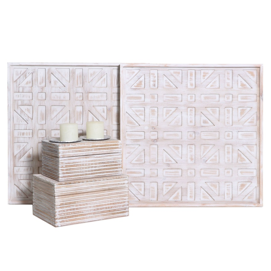 Geometric Art Wall Panels, Wooden Storage Boxes and Candles