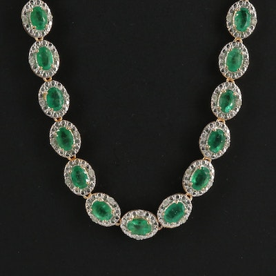 Sterling Emerald and 1.29 CTW Diamond Necklace