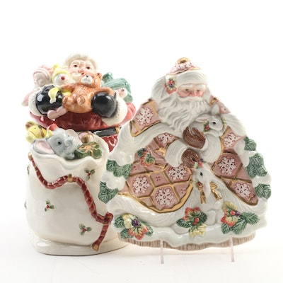 "Fitz and Floyd ""Santa Bag Cookie Jar"" and ""Santa Serving Plate"""
