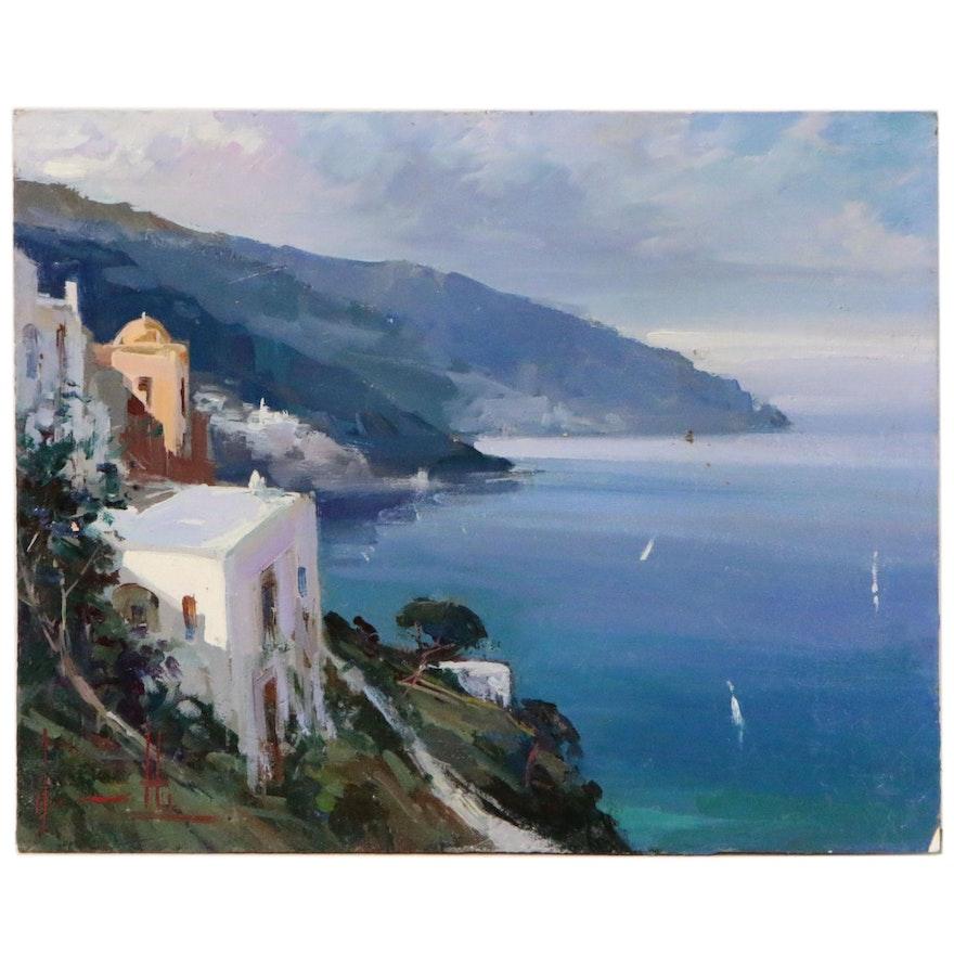 """Claudio Simonetti Oil Painting """"Coastal Playground"""""""